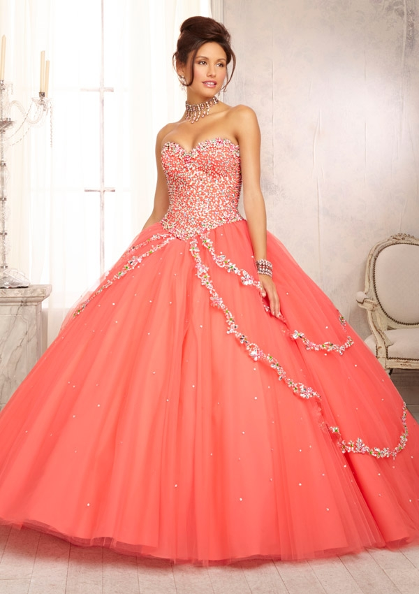Mori Lee Quinceanera Dresses 88090 coral