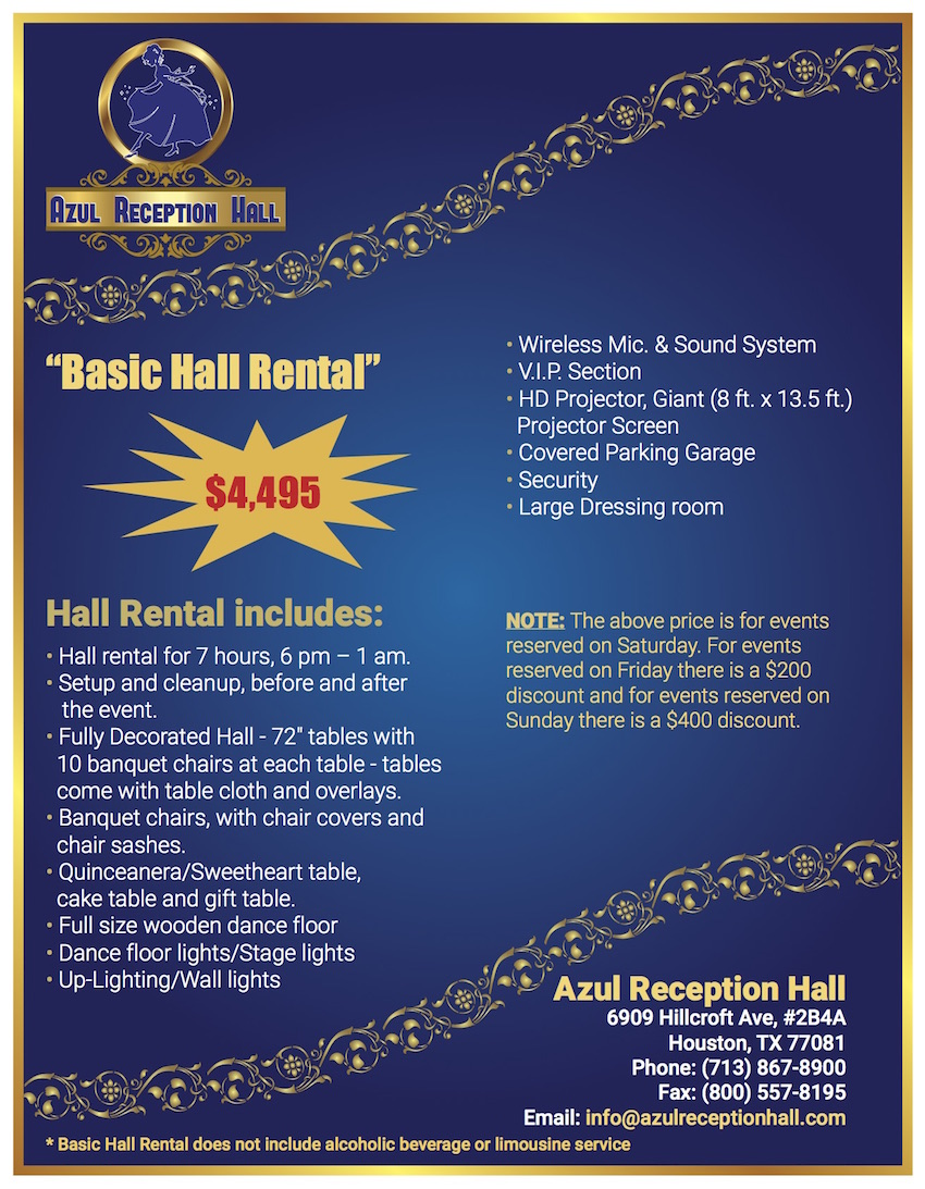 Azul Reception Hall Banquet Hall Bellaire Houston My